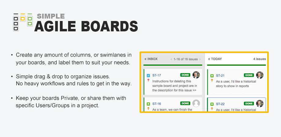 Agile Boards image with sample and feature bullets