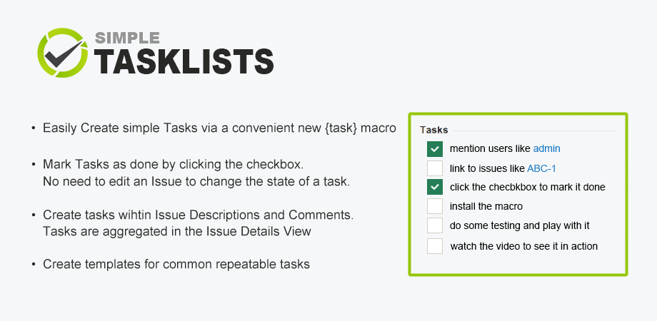Tasklist image with sample and feature bullets